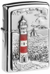 Zippo Feuerzeug 2001670 Lighthouse Emblem Benzinfeuerzeug, Messing - 1