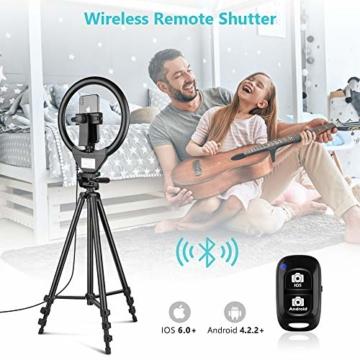 10'' Ringlicht mit 50'' ausziehbarem Stativständer, UBeesize LED-Kreislichter mit Telefonhalterung für Live Stream/Makeup/YouTube Video/TikTok, kompatibel mit Allen Handys. - 2