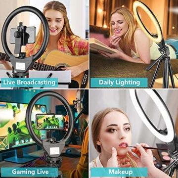 10'' Ringlicht mit 50'' ausziehbarem Stativständer, UBeesize LED-Kreislichter mit Telefonhalterung für Live Stream/Makeup/YouTube Video/TikTok, kompatibel mit Allen Handys. - 3
