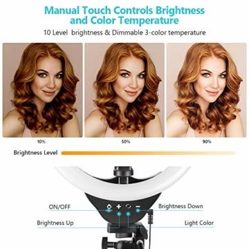 10'' Ringlicht mit 50'' ausziehbarem Stativständer, UBeesize LED-Kreislichter mit Telefonhalterung für Live Stream/Makeup/YouTube Video/TikTok, kompatibel mit Allen Handys. - 4