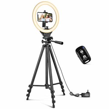 10'' Ringlicht mit 50'' ausziehbarem Stativständer, UBeesize LED-Kreislichter mit Telefonhalterung für Live Stream/Makeup/YouTube Video/TikTok, kompatibel mit Allen Handys. - 1