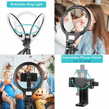 10'' Ringlicht mit 50'' ausziehbarem Stativständer, UBeesize LED-Kreislichter mit Telefonhalterung für Live Stream/Makeup/YouTube Video/TikTok, kompatibel mit Allen Handys. - 5