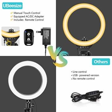 10'' Ringlicht mit 50'' ausziehbarem Stativständer, UBeesize LED-Kreislichter mit Telefonhalterung für Live Stream/Makeup/YouTube Video/TikTok, kompatibel mit Allen Handys. - 6