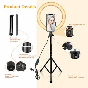 10 Zoll LED Ringlicht mit 59 Zoll Stativständer & Handyhalter, Dimmbare Tischringlicht für YouTube-Videoaufnahmen, Selfie, Live-Stream, Makeup/Fotografie Kompatibel mit Smartphone - 2