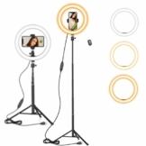 10 Zoll LED Ringlicht mit 59 Zoll Stativständer & Handyhalter, Dimmbare Tischringlicht für YouTube-Videoaufnahmen, Selfie, Live-Stream, Makeup/Fotografie Kompatibel mit Smartphone - 1