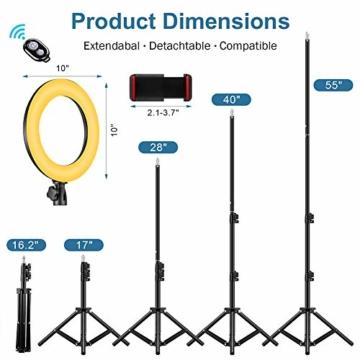 25,4 cm RGB Selfie-Ringlicht, LED-Ringlicht 3200–6500 K, mit Stativ und Handy-Halterung für Live-Stream/Make-Up/YouTube/TikTok/Fotografie/Videoaufnahmen, kompatibel mit iPhone & Android-Handys - 2