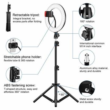 25,4 cm RGB Selfie-Ringlicht, LED-Ringlicht 3200–6500 K, mit Stativ und Handy-Halterung für Live-Stream/Make-Up/YouTube/TikTok/Fotografie/Videoaufnahmen, kompatibel mit iPhone & Android-Handys - 3