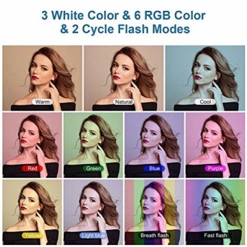 25,4 cm RGB Selfie-Ringlicht, LED-Ringlicht 3200–6500 K, mit Stativ und Handy-Halterung für Live-Stream/Make-Up/YouTube/TikTok/Fotografie/Videoaufnahmen, kompatibel mit iPhone & Android-Handys - 4
