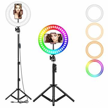 25,4 cm RGB Selfie-Ringlicht, LED-Ringlicht 3200–6500 K, mit Stativ und Handy-Halterung für Live-Stream/Make-Up/YouTube/TikTok/Fotografie/Videoaufnahmen, kompatibel mit iPhone & Android-Handys - 1