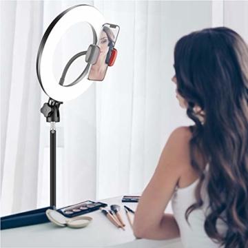 25,4 cm RGB Selfie-Ringlicht, LED-Ringlicht 3200–6500 K, mit Stativ und Handy-Halterung für Live-Stream/Make-Up/YouTube/TikTok/Fotografie/Videoaufnahmen, kompatibel mit iPhone & Android-Handys - 5