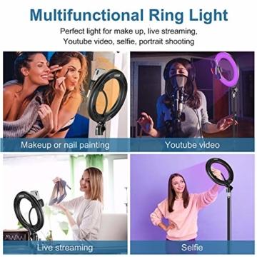 25,4 cm RGB Selfie-Ringlicht, LED-Ringlicht 3200–6500 K, mit Stativ und Handy-Halterung für Live-Stream/Make-Up/YouTube/TikTok/Fotografie/Videoaufnahmen, kompatibel mit iPhone & Android-Handys - 6