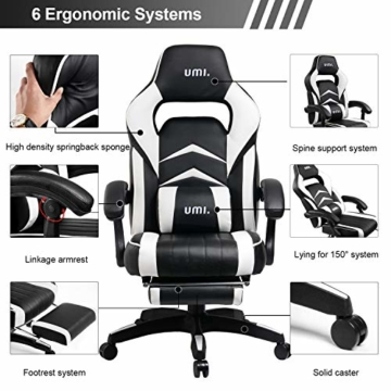 Amazon Brand - Umi Gaming Stuhl Bürostuhl Schreibtischstuhl mit Armlehne Drehstuhl Höhenverstellbarer Gaming Sessel PC Stuhl Ergonomisches Chefsessel mit Fußstützen White - 2