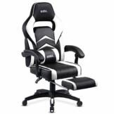 Amazon Brand - Umi Gaming Stuhl Bürostuhl Schreibtischstuhl mit Armlehne Drehstuhl Höhenverstellbarer Gaming Sessel PC Stuhl Ergonomisches Chefsessel mit Fußstützen White - 1