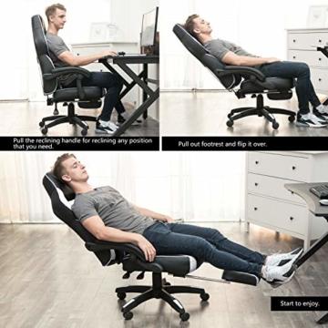 Amazon Brand - Umi Gaming Stuhl Bürostuhl Schreibtischstuhl mit Armlehne Drehstuhl Höhenverstellbarer Gaming Sessel PC Stuhl Ergonomisches Chefsessel mit Fußstützen White - 3