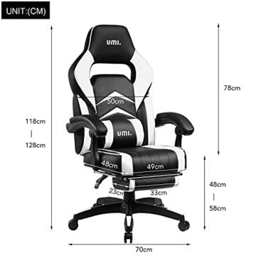 Amazon Brand - Umi Gaming Stuhl Bürostuhl Schreibtischstuhl mit Armlehne Drehstuhl Höhenverstellbarer Gaming Sessel PC Stuhl Ergonomisches Chefsessel mit Fußstützen White - 6