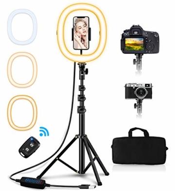 """Babacom 10,2"""" Ringlicht mit Stativ und Handyhalter, Tragbare Faltbare Ringleuchte mit Tasche & Fernbedienung, 3 Farbe & 10 Helligkeitsstufen, 0,45-1,27M Kamera Stativ für YouTube/Facebook/Vlog/Selfie - 1"""