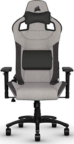 Corsair T3 Rush, Polyester Stoff Gaming Büro Stuhl (Atmungsaktivem Weichen Stoff, Gepolsterten Nackenkissen, Lendenstütze aus Memory-Schaumstoff, 4D-Armlehnen, Leich Montieren) grau/schwarz - 2