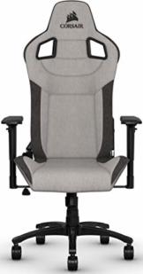 Corsair T3 Rush, Polyester Stoff Gaming Büro Stuhl (Atmungsaktivem Weichen Stoff, Gepolsterten Nackenkissen, Lendenstütze aus Memory-Schaumstoff, 4D-Armlehnen, Leich Montieren) grau/schwarz - 1