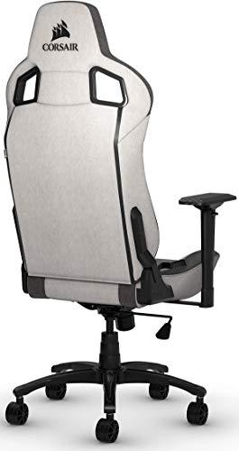 Corsair T3 Rush, Polyester Stoff Gaming Büro Stuhl (Atmungsaktivem Weichen Stoff, Gepolsterten Nackenkissen, Lendenstütze aus Memory-Schaumstoff, 4D-Armlehnen, Leich Montieren) grau/schwarz - 4