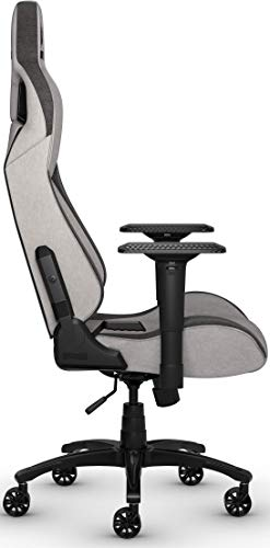 Corsair T3 Rush, Polyester Stoff Gaming Büro Stuhl (Atmungsaktivem Weichen Stoff, Gepolsterten Nackenkissen, Lendenstütze aus Memory-Schaumstoff, 4D-Armlehnen, Leich Montieren) grau/schwarz - 5