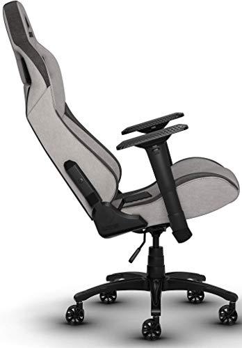 Corsair T3 Rush, Polyester Stoff Gaming Büro Stuhl (Atmungsaktivem Weichen Stoff, Gepolsterten Nackenkissen, Lendenstütze aus Memory-Schaumstoff, 4D-Armlehnen, Leich Montieren) grau/schwarz - 6