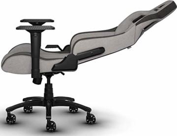 Corsair T3 Rush, Polyester Stoff Gaming Büro Stuhl (Atmungsaktivem Weichen Stoff, Gepolsterten Nackenkissen, Lendenstütze aus Memory-Schaumstoff, 4D-Armlehnen, Leich Montieren) grau/schwarz - 8
