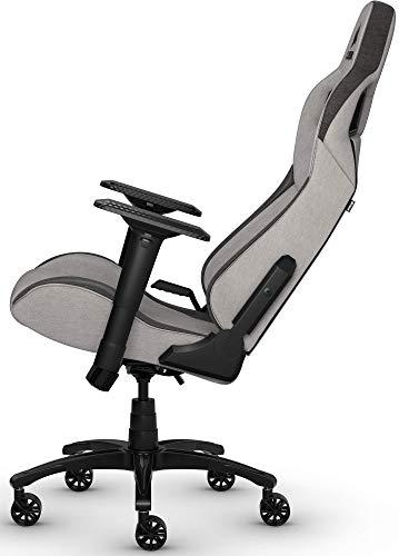 Corsair T3 Rush, Polyester Stoff Gaming Büro Stuhl (Atmungsaktivem Weichen Stoff, Gepolsterten Nackenkissen, Lendenstütze aus Memory-Schaumstoff, 4D-Armlehnen, Leich Montieren) grau/schwarz - 9