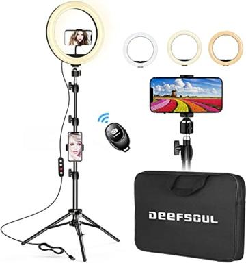 """DEEFSOUL Ringlicht mit stativ, 10.2"""" Selfie Ringleuchte Doppel-Handyhalter mit 3 Farbe und 10 Helliakeitsstufen, mit Aufbewahrungstasche, für für Makeup, Live-Streaminq, Selfie, Vlog, TikTok - 1"""