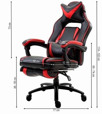 Delman XXL Gaming Stuhl Racing Stuhl Schreibtischstuhl Gaming Chair Drehstuhl Höhenverstellbar mit Fußstütze Fußablage mit Armlehnen Chefsessel Große Sitzfläche Dicke Polsterung 11 cm RS0019RD - 2