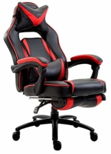 Delman XXL Gaming Stuhl Racing Stuhl Schreibtischstuhl Gaming Chair Drehstuhl Höhenverstellbar mit Fußstütze Fußablage mit Armlehnen Chefsessel Große Sitzfläche Dicke Polsterung 11 cm RS0019RD - 1