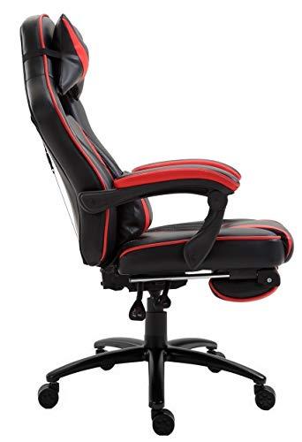 Delman XXL Gaming Stuhl Racing Stuhl Schreibtischstuhl Gaming Chair Drehstuhl Höhenverstellbar mit Fußstütze Fußablage mit Armlehnen Chefsessel Große Sitzfläche Dicke Polsterung 11 cm RS0019RD - 6