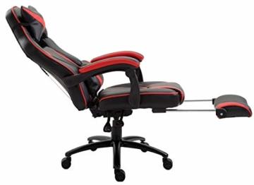 Delman XXL Gaming Stuhl Racing Stuhl Schreibtischstuhl Gaming Chair Drehstuhl Höhenverstellbar mit Fußstütze Fußablage mit Armlehnen Chefsessel Große Sitzfläche Dicke Polsterung 11 cm RS0019RD - 7
