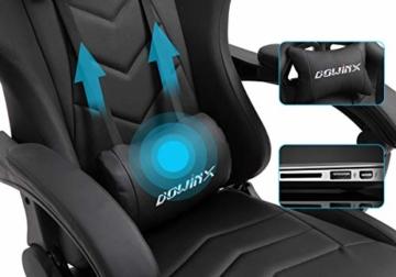 Dowinx Gaming Stuhl Ergonomischer Büro Lehnstuhl für PC mit Massage Lordosenstütze, Racing Stil Sessel PU-Leder-E-Sport-Gamer Stühle mit Ausziehbarem Fußraste (schwarz) - 2