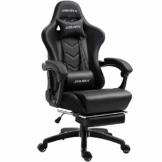Dowinx Gaming Stuhl Ergonomischer Büro Lehnstuhl für PC mit Massage Lordosenstütze, Racing Stil Sessel PU-Leder-E-Sport-Gamer Stühle mit Ausziehbarem Fußraste (schwarz) - 1