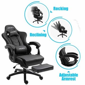 Dowinx Gaming Stuhl Ergonomischer Büro Lehnstuhl für PC mit Massage Lordosenstütze, Racing Stil Sessel PU-Leder-E-Sport-Gamer Stühle mit Ausziehbarem Fußraste (schwarz) - 3