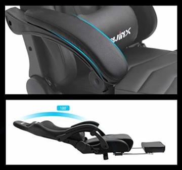 Dowinx Gaming Stuhl Ergonomischer Büro Lehnstuhl für PC mit Massage Lordosenstütze, Racing Stil Sessel PU-Leder-E-Sport-Gamer Stühle mit Ausziehbarem Fußraste (schwarz) - 4