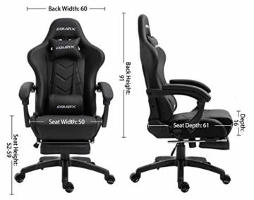 Dowinx Gaming Stuhl Ergonomischer Büro Lehnstuhl für PC mit Massage Lordosenstütze, Racing Stil Sessel PU-Leder-E-Sport-Gamer Stühle mit Ausziehbarem Fußraste (schwarz) - 7