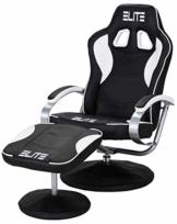 Elite Deluxe Gaming Sessel MG-300 - Bürostuhl - Gamingstuhl - Streamingstuhl - Drehstuhl - Ergonomisch - Racingoptik - Fußhocker - Chefsessel - Racing (Schwarz/Weiß) - 1