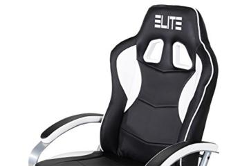 Elite Deluxe Gaming Sessel MG-300 - Bürostuhl - Gamingstuhl - Streamingstuhl - Drehstuhl - Ergonomisch - Racingoptik - Fußhocker - Chefsessel - Racing (Schwarz/Weiß) - 5