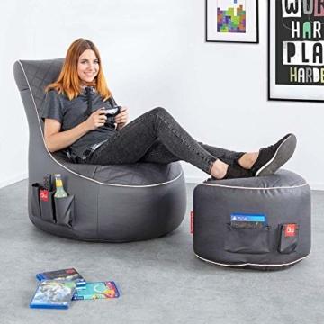 GAMEWAREZ Granite Hurricane 2.0 Gaming Sitzsack, Made in Germany, für PS4, XBOX360, XboxOne, Nintendo DS, Nintendo Switch, Smartphone. Graues Kunstleder mit weißem Keder, Tasche und Headsethalterung - 4