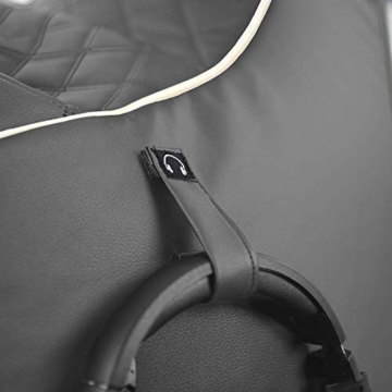 GAMEWAREZ Granite Hurricane 2.0 Gaming Sitzsack, Made in Germany, für PS4, XBOX360, XboxOne, Nintendo DS, Nintendo Switch, Smartphone. Graues Kunstleder mit weißem Keder, Tasche und Headsethalterung - 6