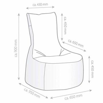 GAMEWAREZ Granite Hurricane 2.0 Gaming Sitzsack, Made in Germany, für PS4, XBOX360, XboxOne, Nintendo DS, Nintendo Switch, Smartphone. Graues Kunstleder mit weißem Keder, Tasche und Headsethalterung - 7