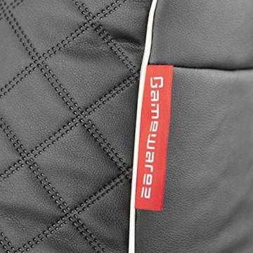 GAMEWAREZ Granite Hurricane 2.0 Gaming Sitzsack, Made in Germany, für PS4, XBOX360, XboxOne, Nintendo DS, Nintendo Switch, Smartphone. Graues Kunstleder mit weißem Keder, Tasche und Headsethalterung - 8
