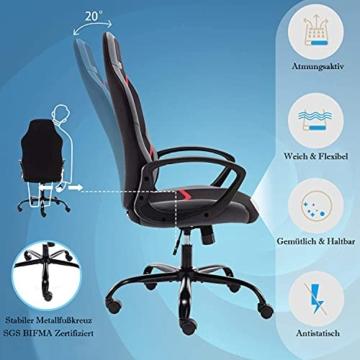 Gaming Stuhl Bürostuhl Ergonomischer Drehstuhl Schreibtischstuhl mit Eingebauter Lendenstütze und Drehbaren Lenkrollen Computerstuhl Rot - 4