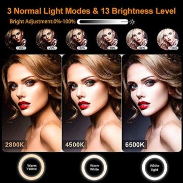 GerTong 12 Zoll Ringlicht mit Stativ Handy Bunt, Tisch Led Ringlicht/150cm Bodenständer Ring Light mit Fernbedienung für YouTube Video/Selfie/Makeup, 20 RGB-Modi 13 Helligkeit - 2
