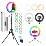 GerTong 12 Zoll Ringlicht mit Stativ Handy Bunt, Tisch Led Ringlicht/150cm Bodenständer Ring Light mit Fernbedienung für YouTube Video/Selfie/Makeup, 20 RGB-Modi 13 Helligkeit - 1