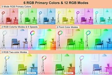 GerTong 12 Zoll Ringlicht mit Stativ Handy Bunt, Tisch Led Ringlicht/150cm Bodenständer Ring Light mit Fernbedienung für YouTube Video/Selfie/Makeup, 20 RGB-Modi 13 Helligkeit - 3