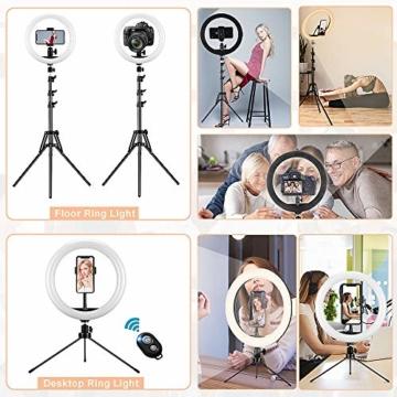 GerTong 12 Zoll Ringlicht mit Stativ Handy Bunt, Tisch Led Ringlicht/150cm Bodenständer Ring Light mit Fernbedienung für YouTube Video/Selfie/Makeup, 20 RGB-Modi 13 Helligkeit - 4