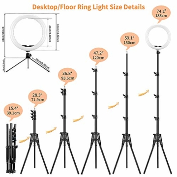 GerTong 12 Zoll Ringlicht mit Stativ Handy Bunt, Tisch Led Ringlicht/150cm Bodenständer Ring Light mit Fernbedienung für YouTube Video/Selfie/Makeup, 20 RGB-Modi 13 Helligkeit - 5