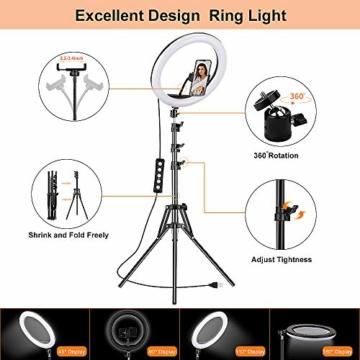 GerTong 12 Zoll Ringlicht mit Stativ Handy Bunt, Tisch Led Ringlicht/150cm Bodenständer Ring Light mit Fernbedienung für YouTube Video/Selfie/Makeup, 20 RGB-Modi 13 Helligkeit - 6